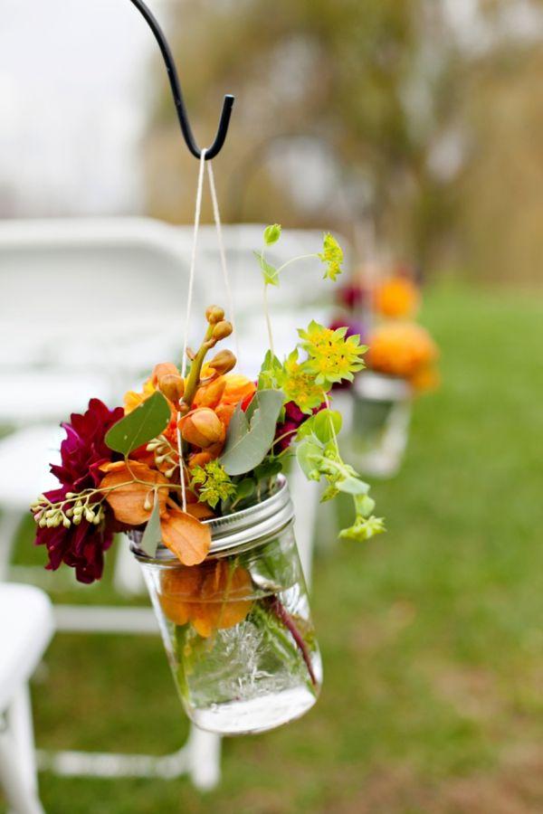 Hanging Mason Jar Fall Floral Decor Ceremony Aisle Decor Purple
