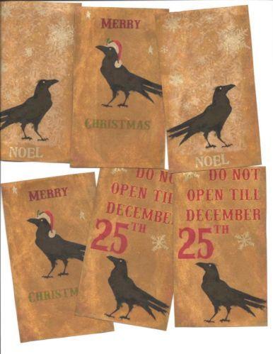 LOT OF~12 Vintage look LABELS~Grungy labels ~Christmas Primitive Crow   eBay