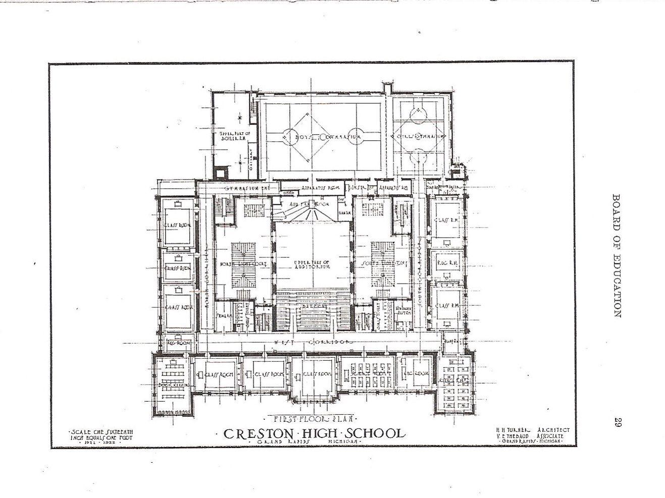 Creston High School, 1922 original blue prints, second floor.