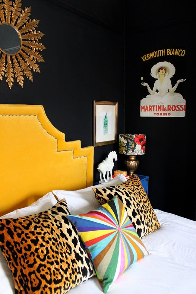 Swoon Worthy Blog Bedroom - Love the dark walls and drama!