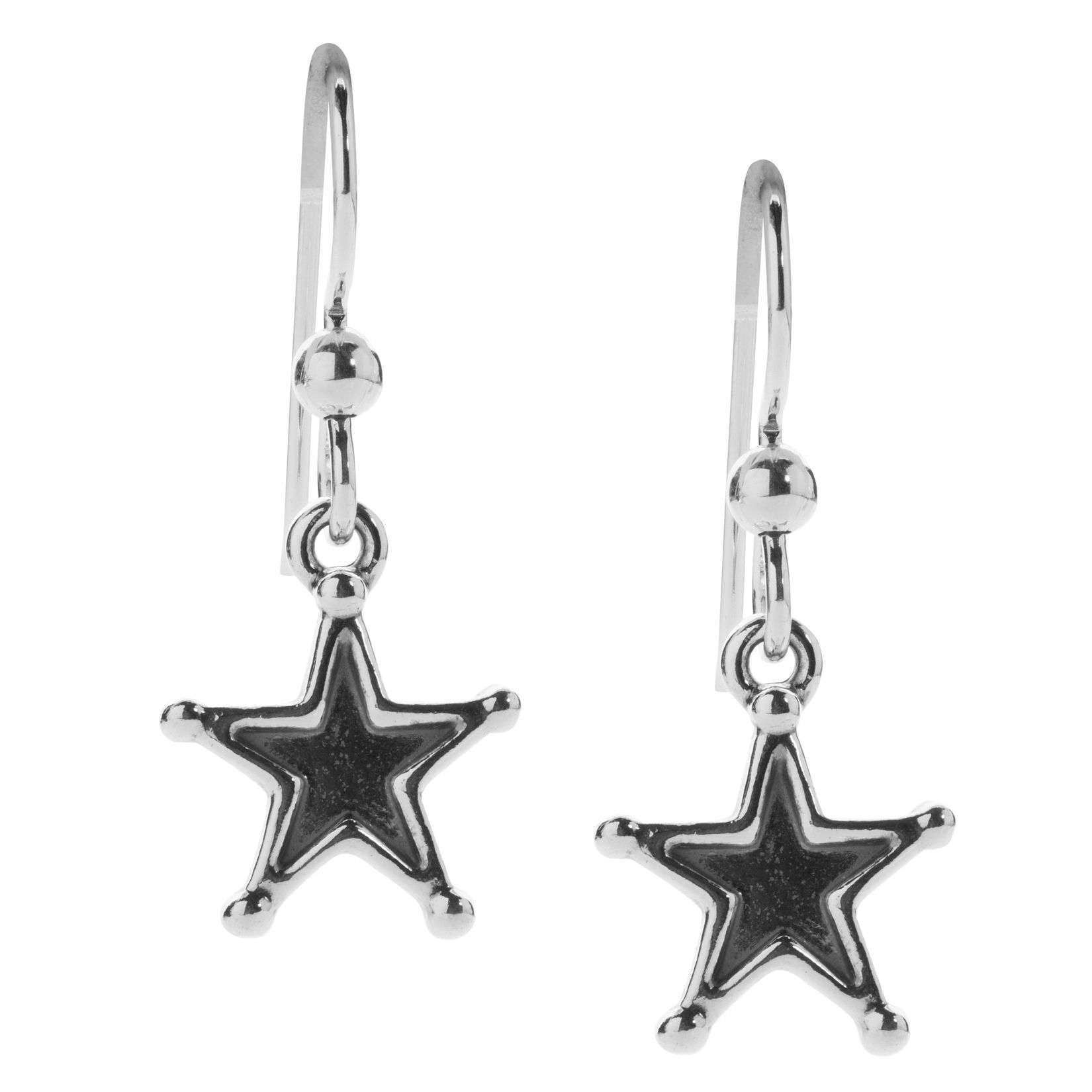 16160d20f Sterling silver dangle star earrings. Measurement: 1-1/8″ long x 3/8″ wide.  Designed and crafted in America.