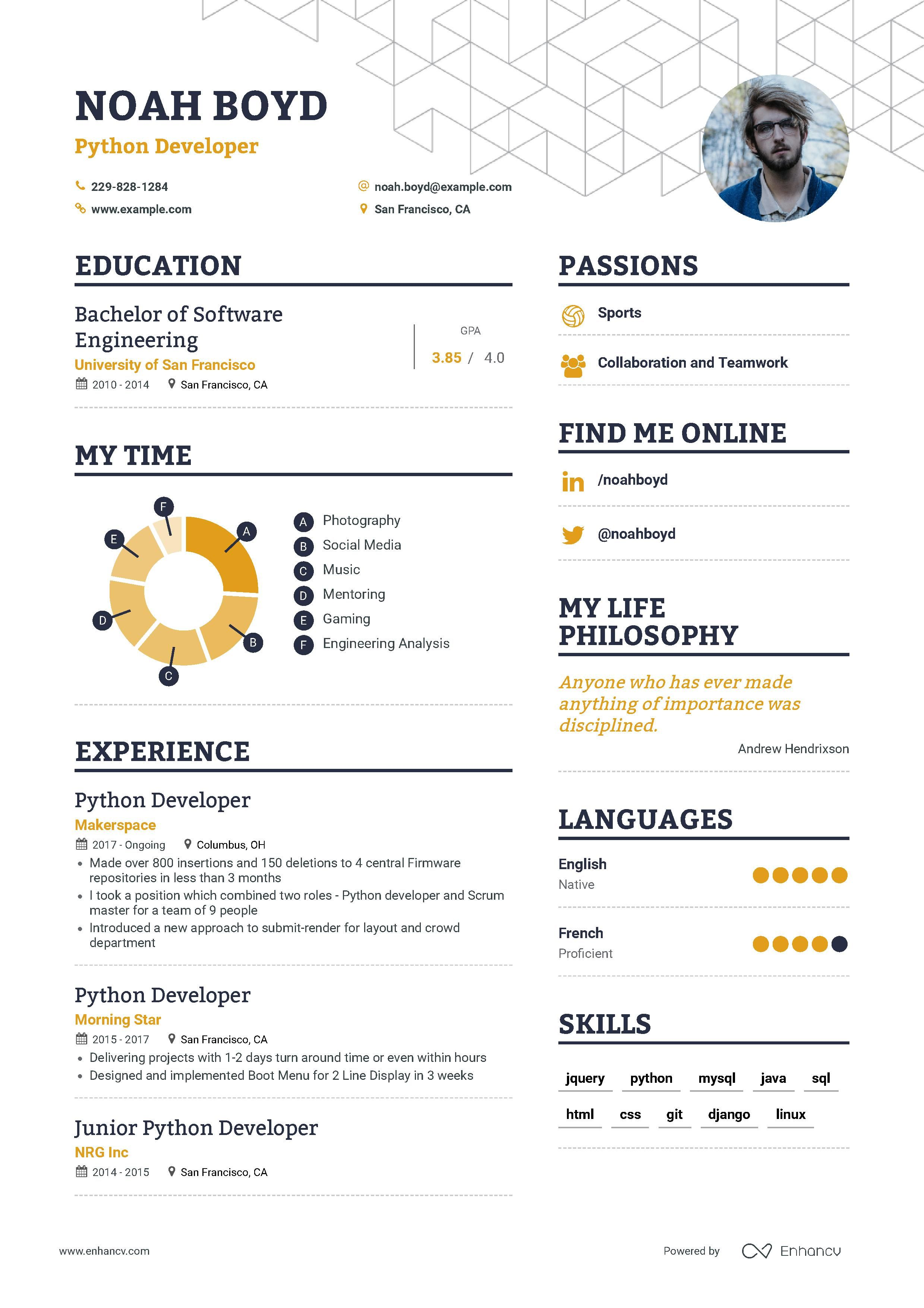 Python Developer Resume Example And Guide For 2019 Resume Examples Resume Job Cover Letter