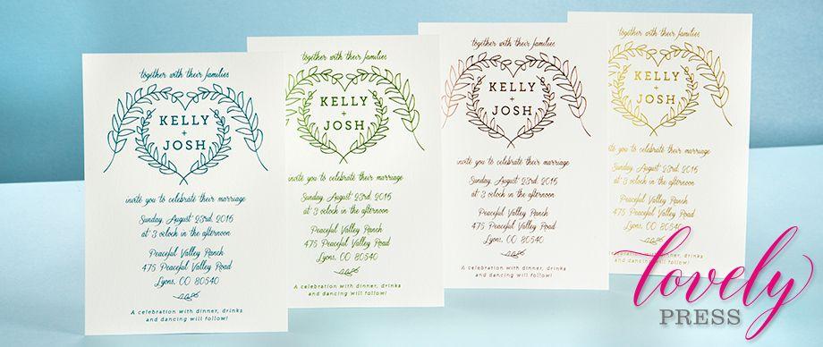 Letterpress Invitations | Custom Printing Lovely Press | ForYourParty.com