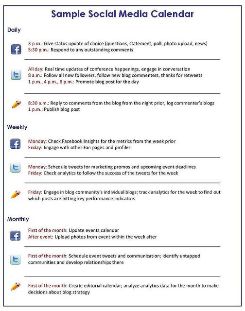 Social Media Marketing Plan Template Google Search Helpful Forms - Blog post schedule template