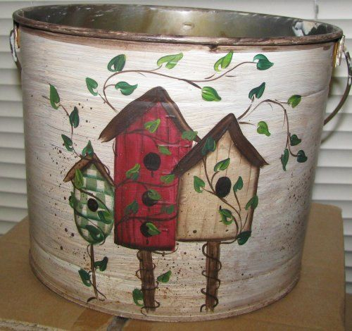 Primitive Country Crafts. Tin Birdhouse Bucket