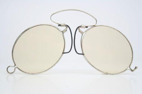 b7327a3ab1b Spring Bridge Pince Nez Eye Glasses Yellow Lenses Antique Sunglasses ...