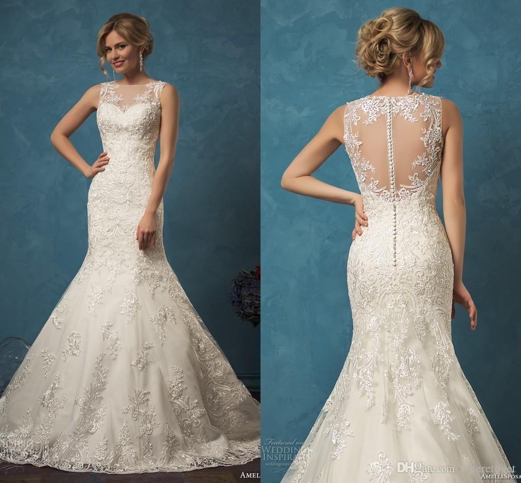 2016 Luxury High Neck Sheer Lace Long Sleeves Wedding Dresses ...