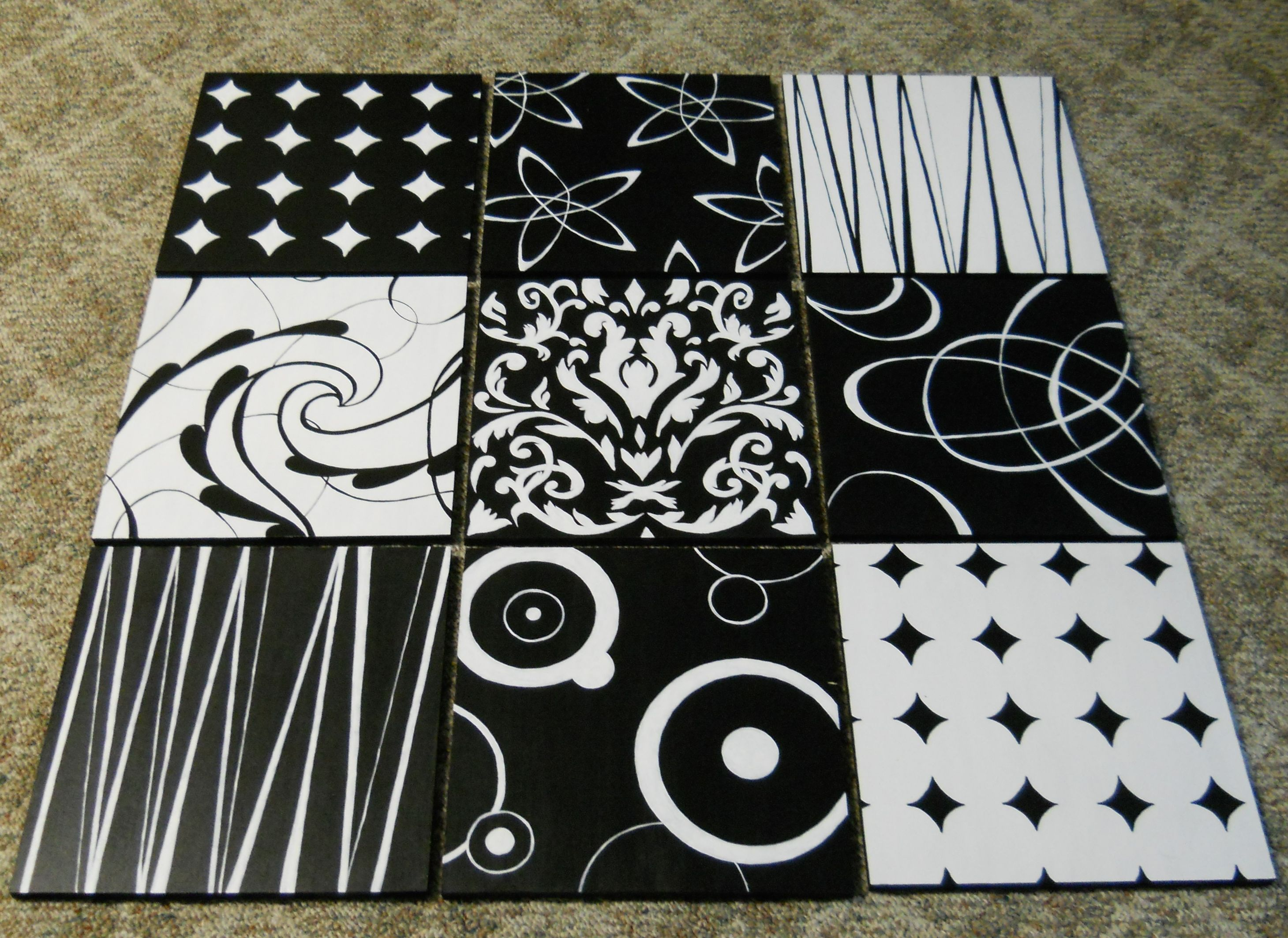 Scrapbook paper wall art - A Black And White 9 Panel Wall Hanging Inspired By Diy Scrapbook Page Wall Art