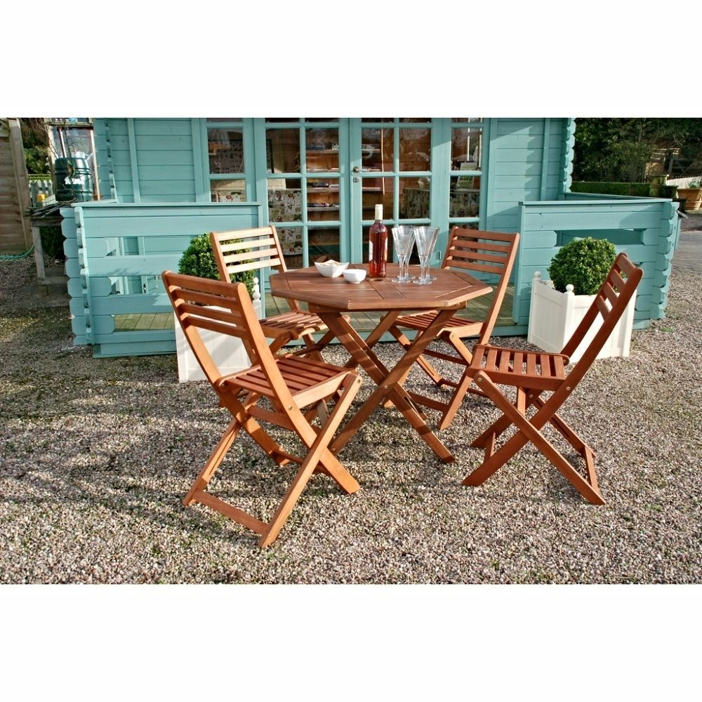 Garden Table And Chairs Folding Wooden Patio Furniture Outdoor 4 ...