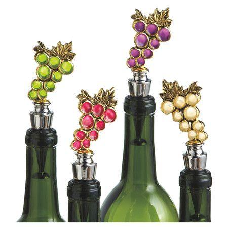 4 Piece Grape Bottle Stopper Set