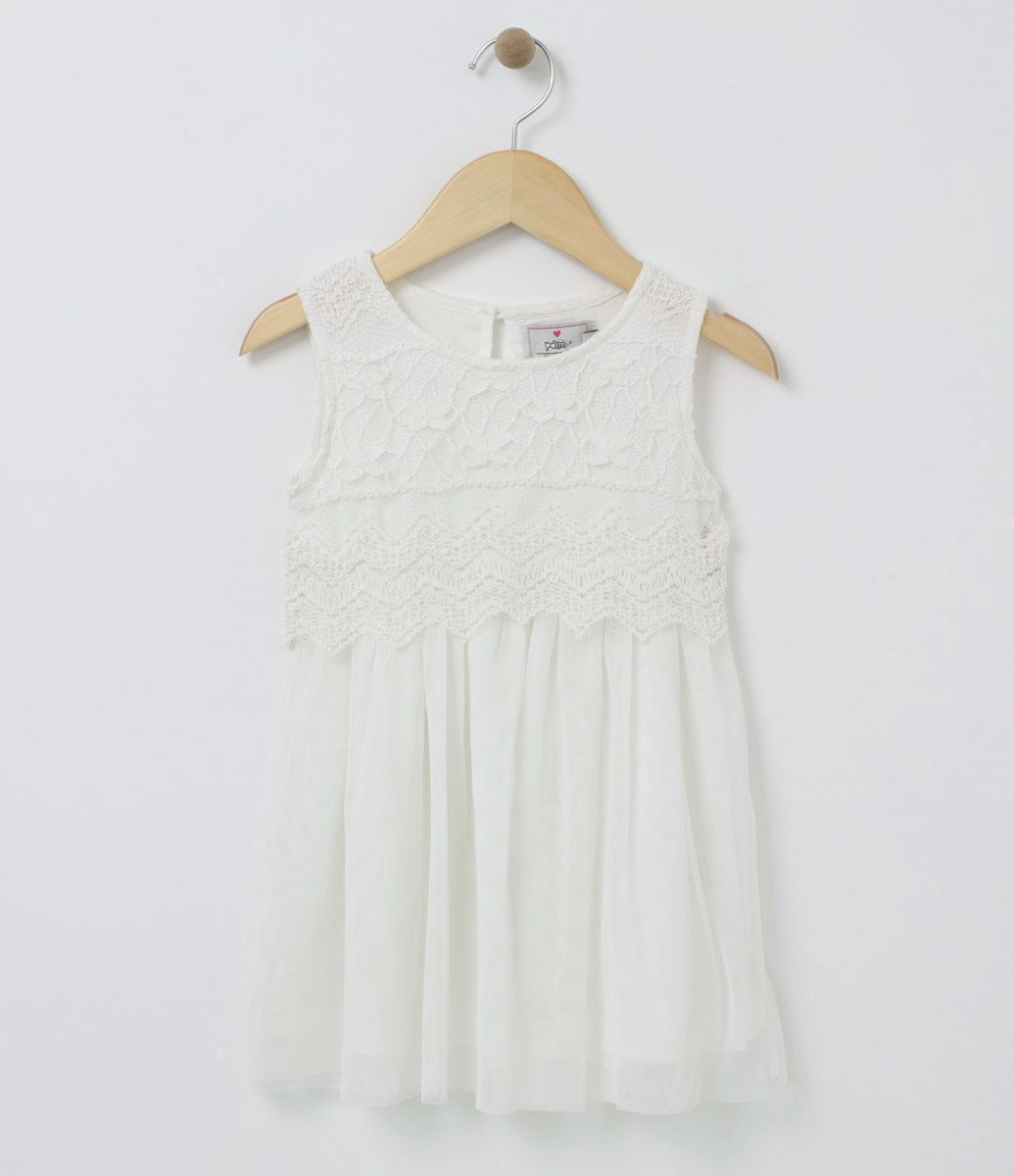 903c0937bf14 Vestido Infantil Sem manga Gola redonda Com renda Saia com Tule Marca: Póim  Tecido: