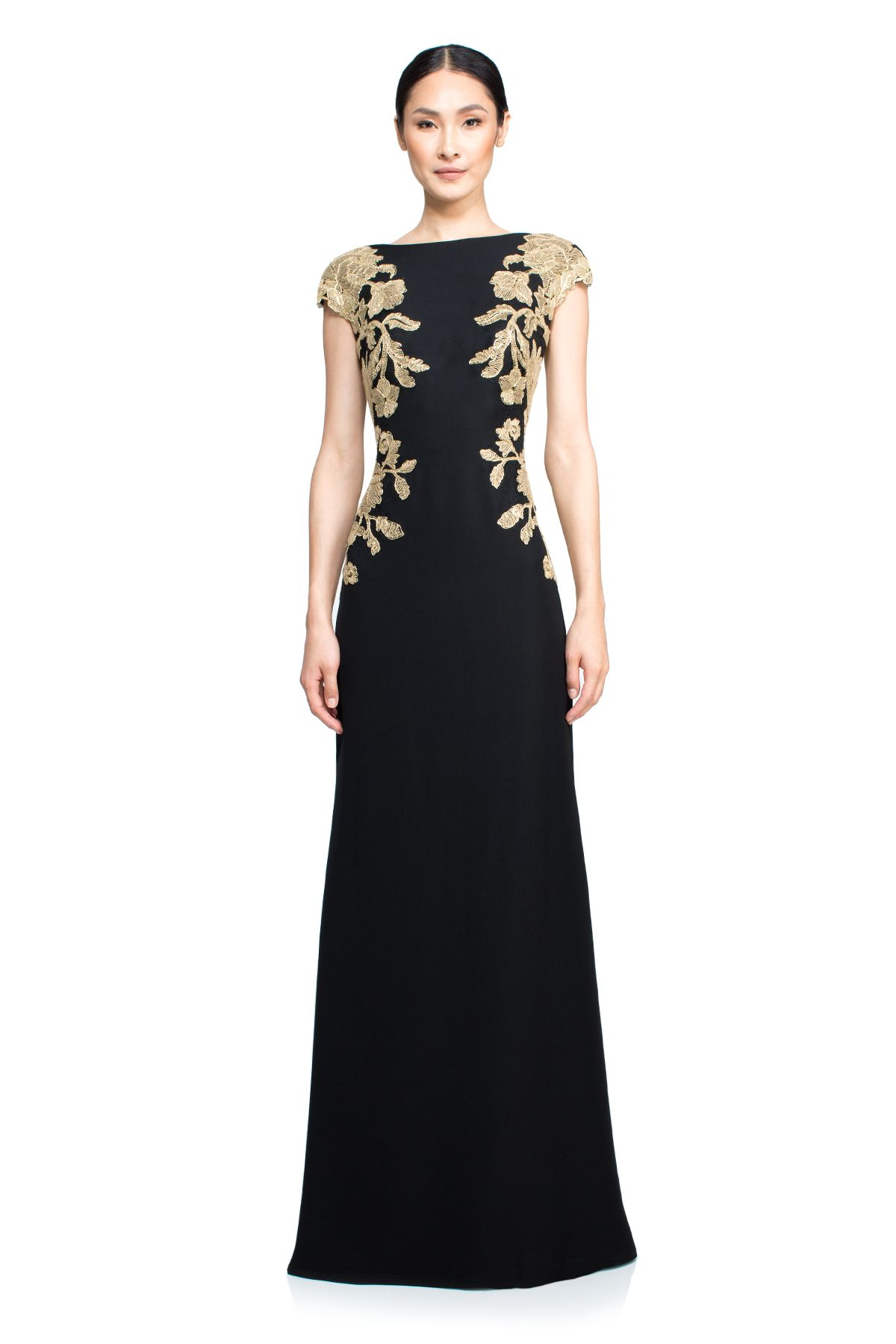 Women\'s Black Mino Gown - Petite | Tadashi shoji, Gowns and Black gold