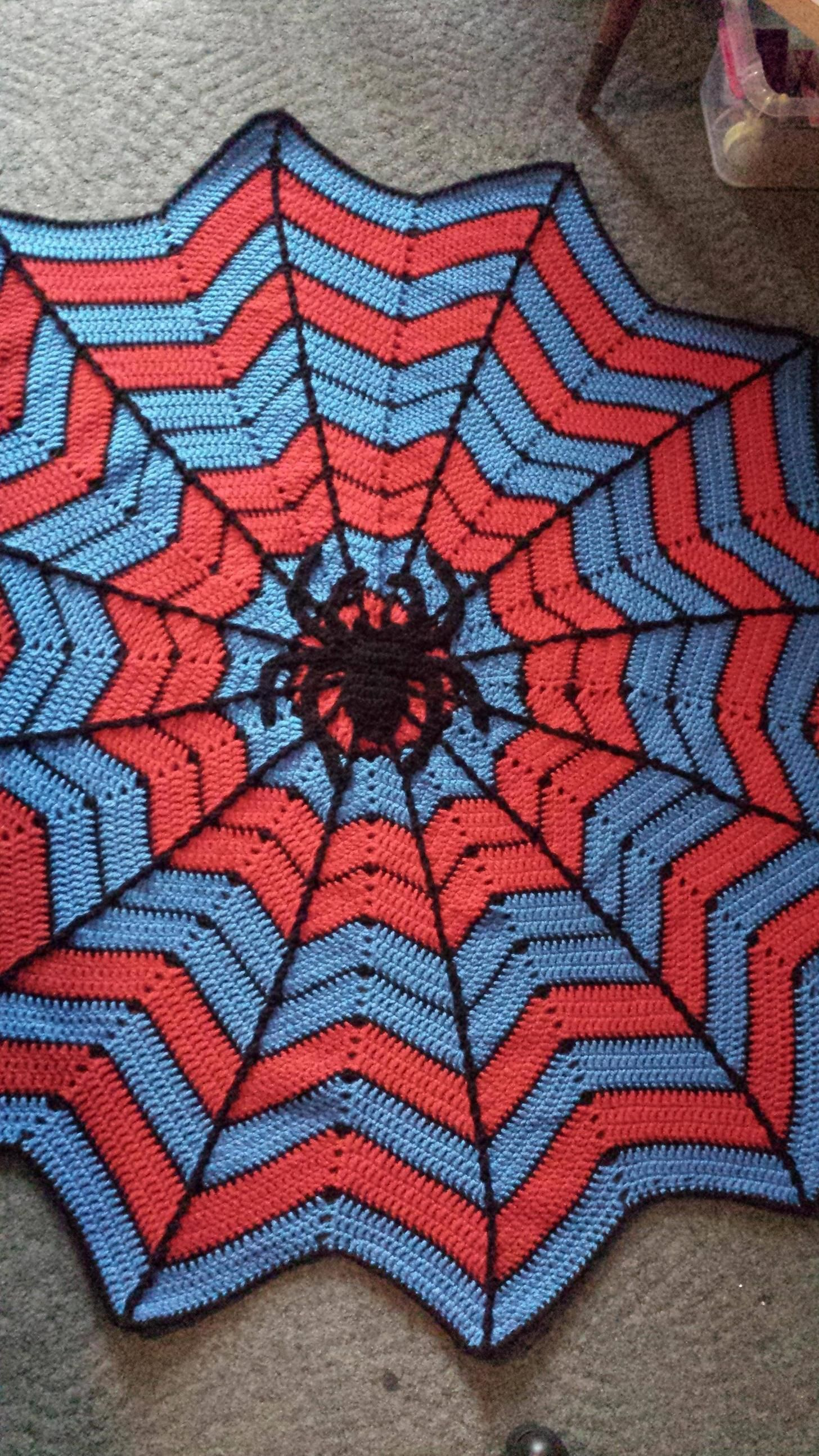 Finished a Spiderman spiderweb blanket for my little cousin ...