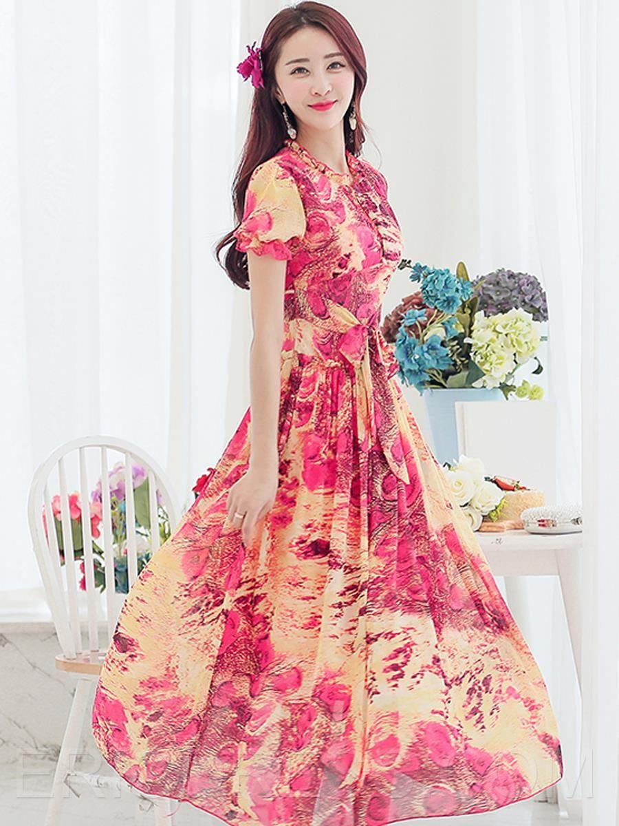 Floral print short sleeve laceup maxi dress maxi dresses short