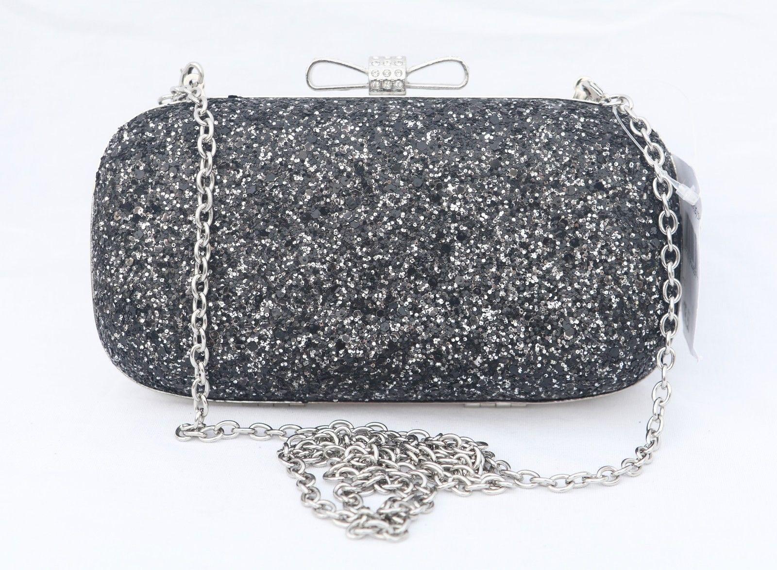 317d19f4c801 18.00 | INC International Concepts Evie Black Silver Glitter Clutch ...