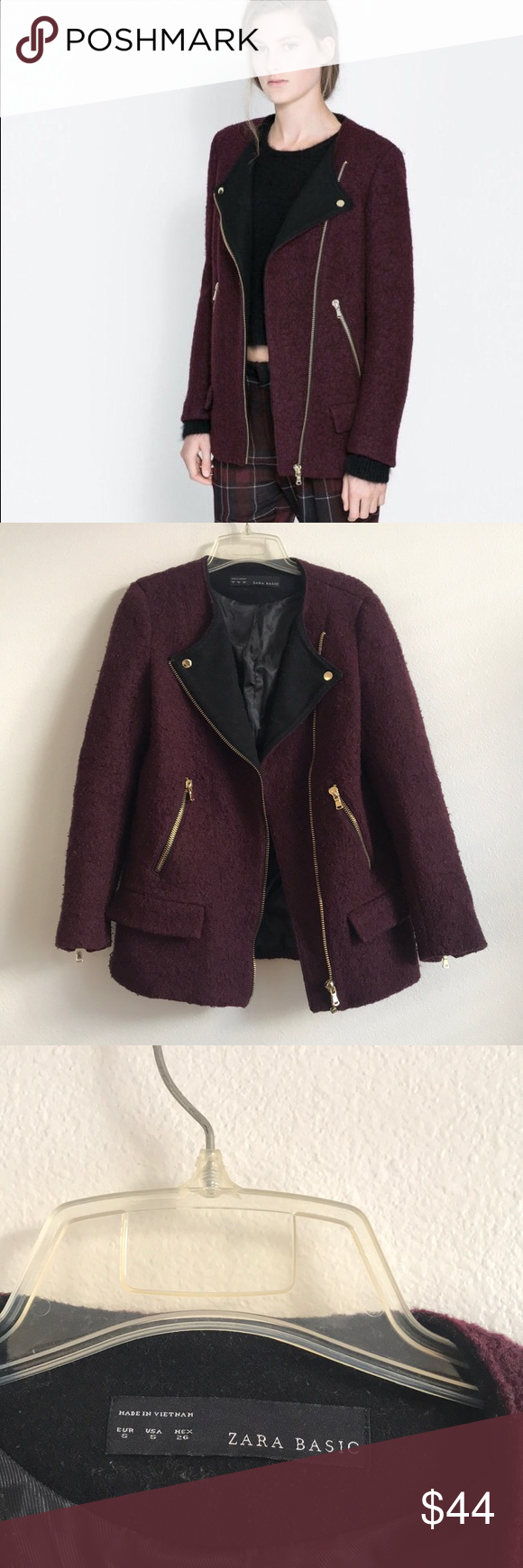 Zara Burgundy Maroon Zip Up Coat Clothes design, Zara
