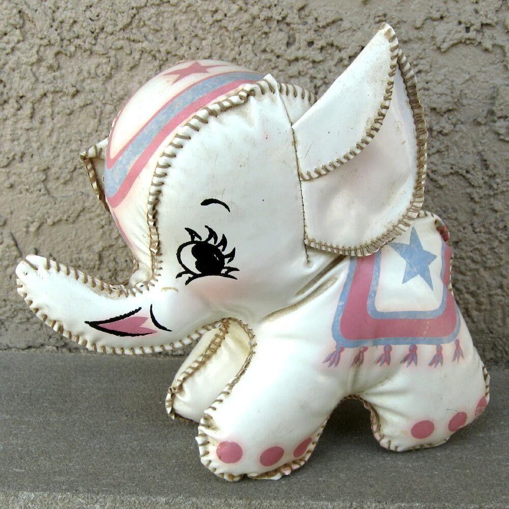 Vintage Vinyl Stuffed Elephant Toy