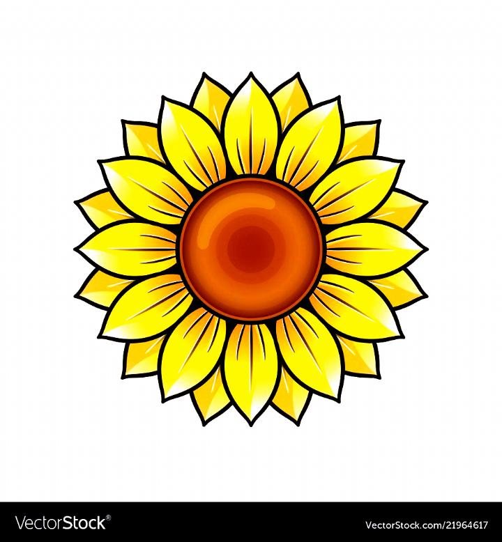 Yellow Sunflower Icon Design Royalty Free Vector Image Drawings Sunflower Drawing Flower Drawing Sunflower Art
