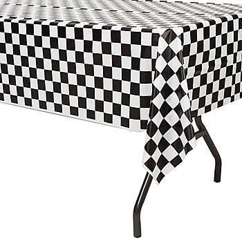 Captivating Our Black And White Check Plastic Table Cover Are A Fantastic Accessory To  Any Race Day