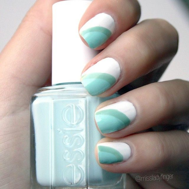 @missladyfinger goes green for spring. Create this striped nail art with the essie spring collection.