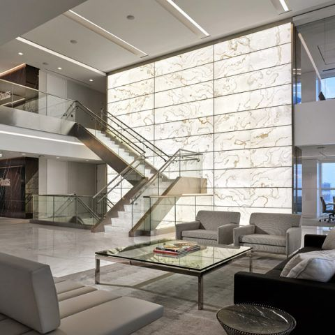 office feature wall ideas. For The Renovation Of A Law Firm Office Lobby, This Three-story Backlit Onyx Feature Wall Was Built In Only Depth. Slim Custom Engineered Structural Ideas