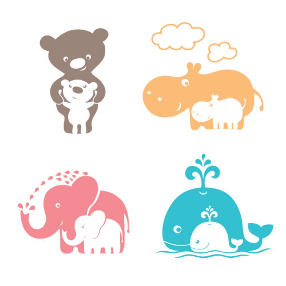 Cute Animals Family Mom Bear Baby Baby Elephant Cartoon Mom Bear Mom And Baby Elephant