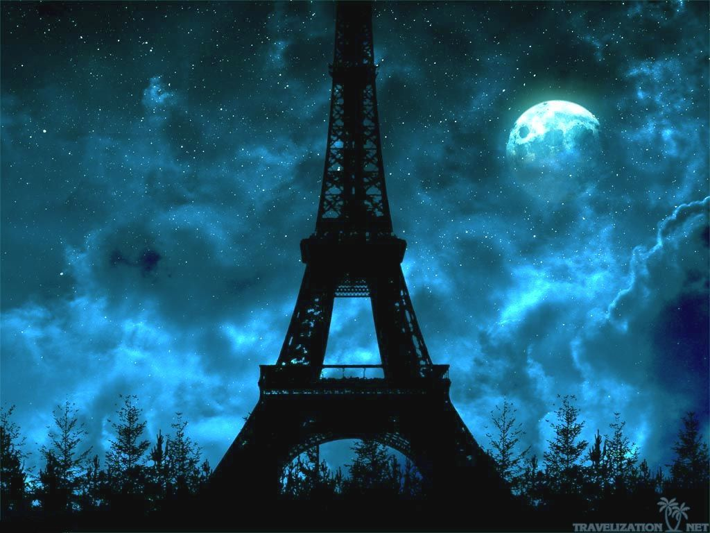 How Ominous Blue Night And Moon Eiffel Tower Wallpapers 1024x768 Jpg 1 024 768 Pixels Eiffel Tower At Night Eiffel Tower Paris At Night