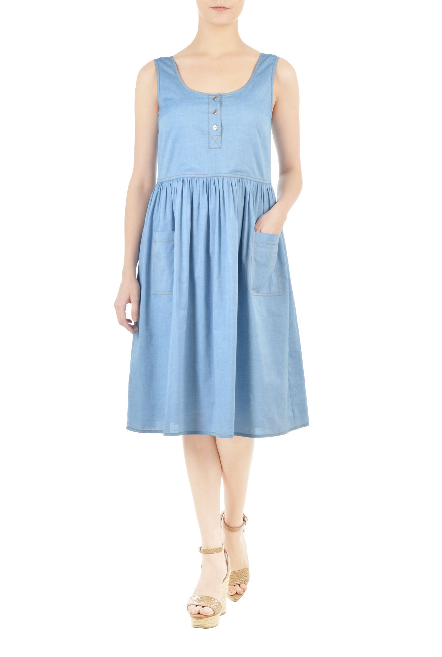 Seamed waist chambray trapeze dress | Custom clothes, Chambray and ...