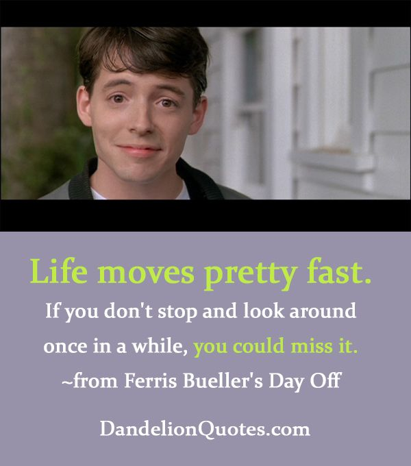 movie quotes Life moves pretty fast Famous and Movie