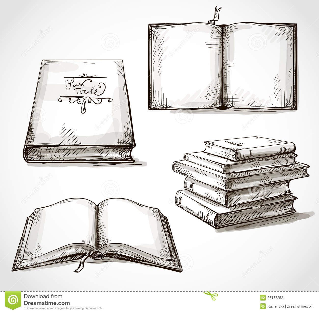 Cover Page Of Drawing Book : Drawings of books set old pile