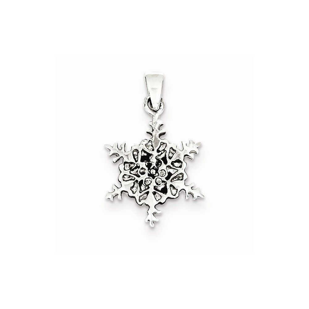 Sterling Silver Antiqued Snowflake Pendant