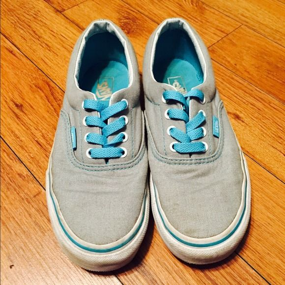 Vans shoes Baby blue and grey shoes. Size 3 in kids but fits like a 6 in women's. Barely worn Vans Shoes