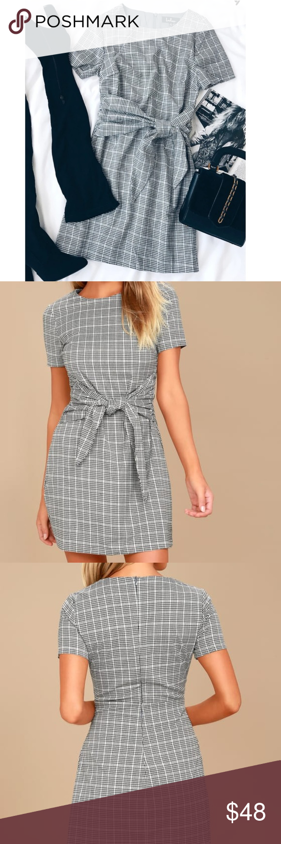 Nwot Lulu S Penny Black White Knotted Dress Meet Us In The Quad In The Penny Black And White Gingham Knotted Sheath Dress Clothes Design Lulu Dresses Fashion [ 1740 x 580 Pixel ]