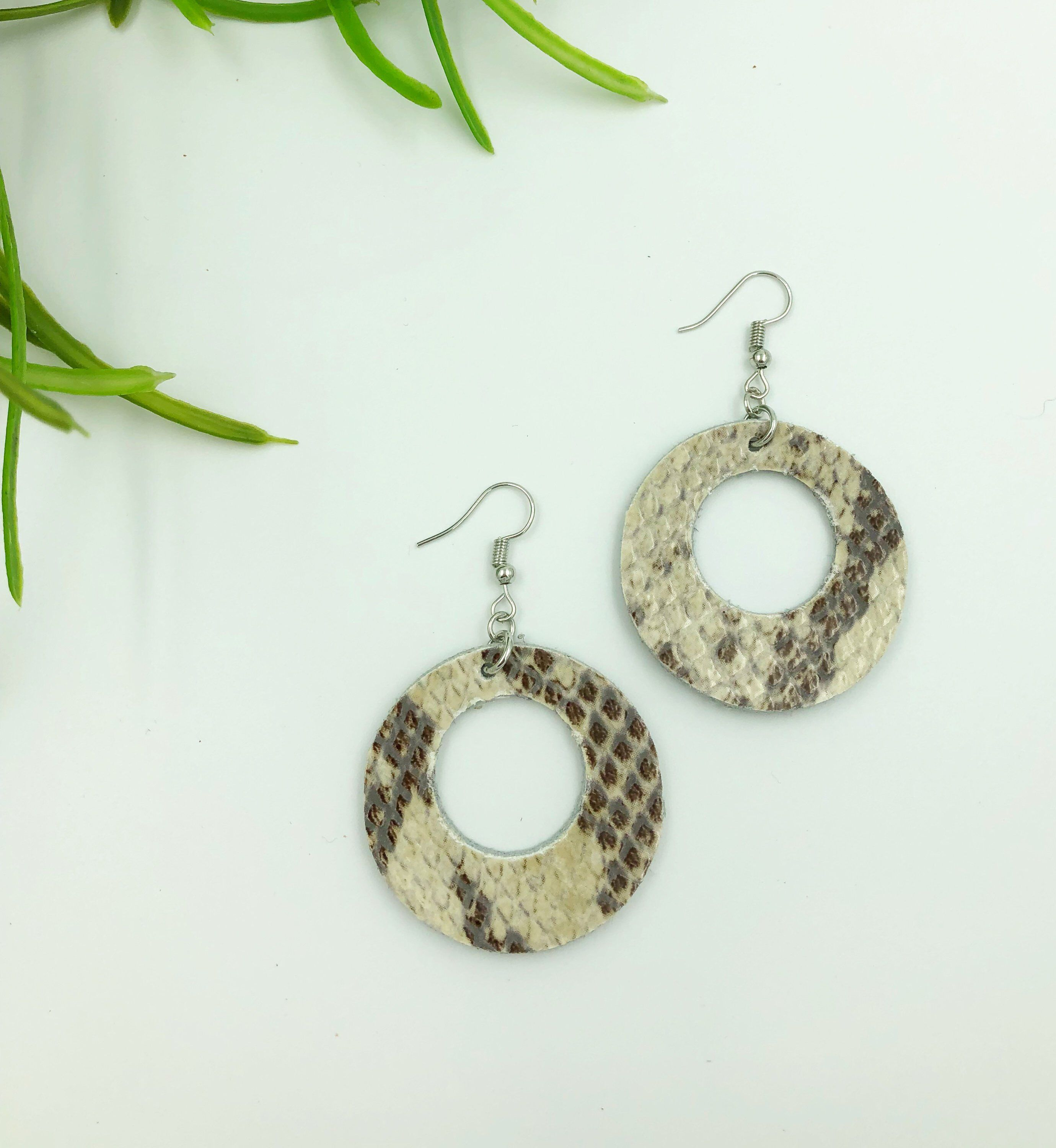 Excited To Share This Item From My Etsy Embossed Snakeskin Leather Earrings Statement Two