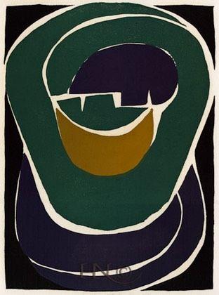 #21, The Kiss, linocut by Jacques Hnizdovsky, 1952