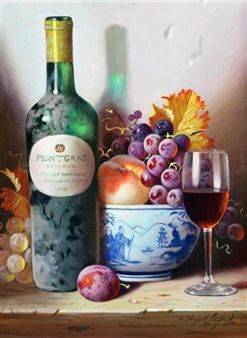 Still life with wine bottle and bowl of fruit, 'Montgras' By Raymond Campbell