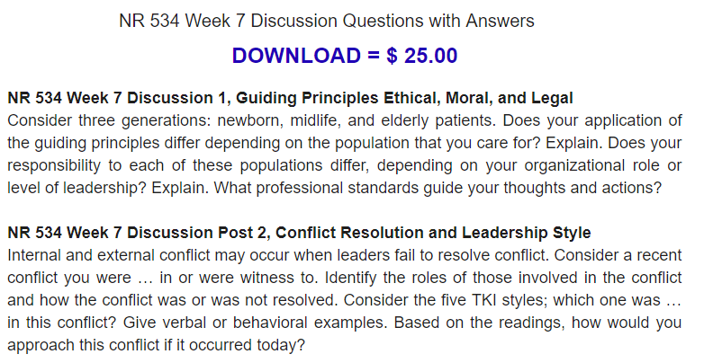 NR 534 Week 7 Discussion 1, Guiding Principles Ethical ...