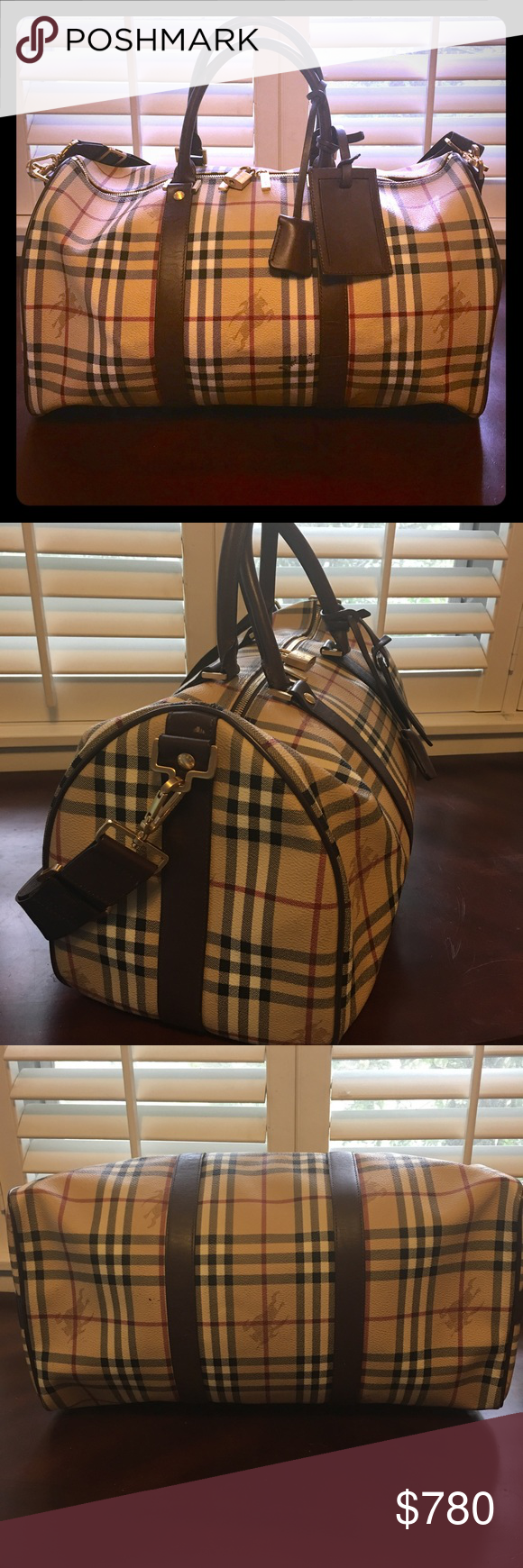139545caa9fc Burberry Haymarket duffle bag weekender plaid Burberry Haymarket duffle bag  100% authentic weekender bag. Pre-owned great condition!