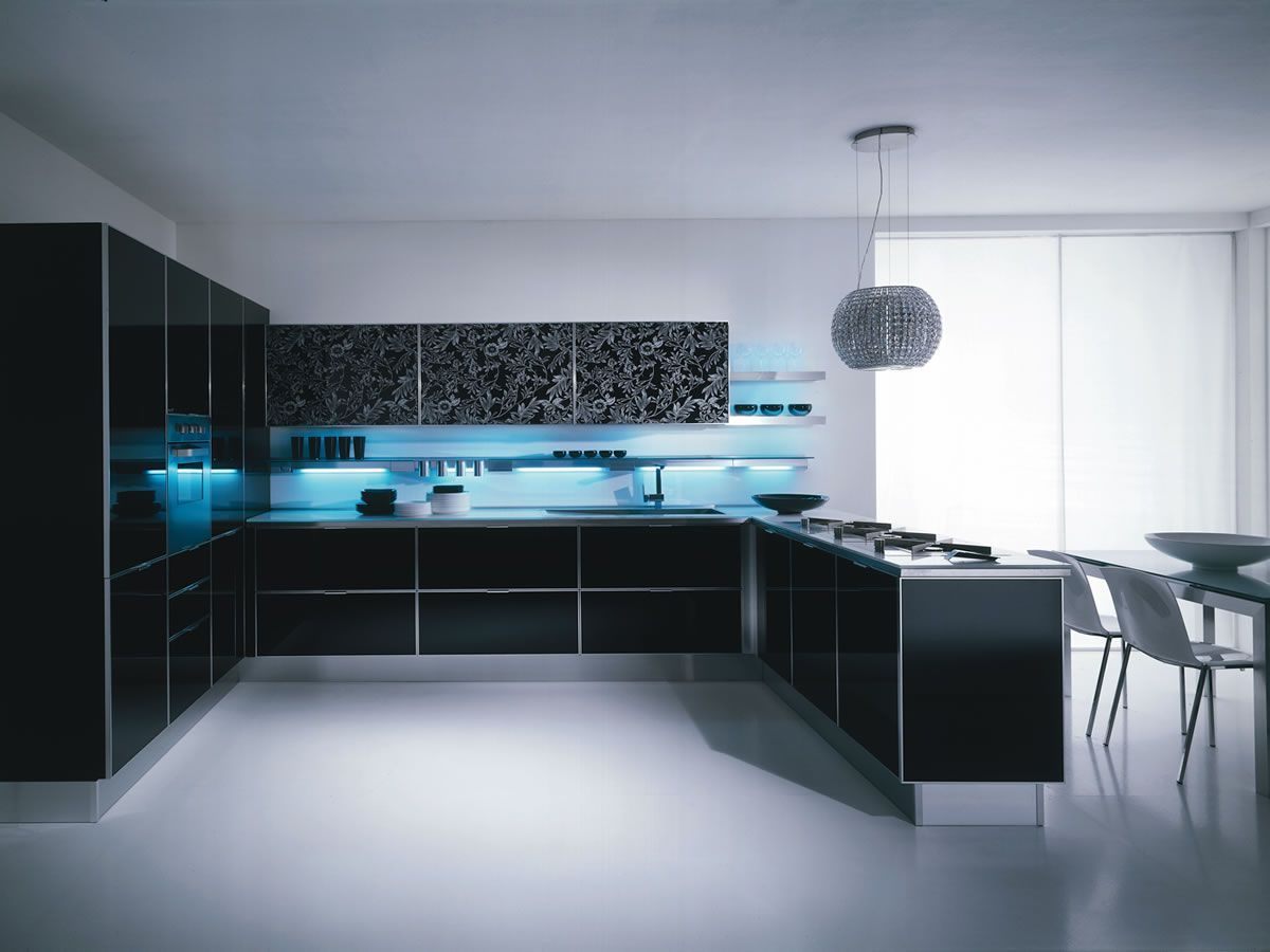 Kitchen , Awesome Contemporary Kitchen Design Ideas 2016 : Amazing Black Kitchen With Contemporary Lighting Cabinets