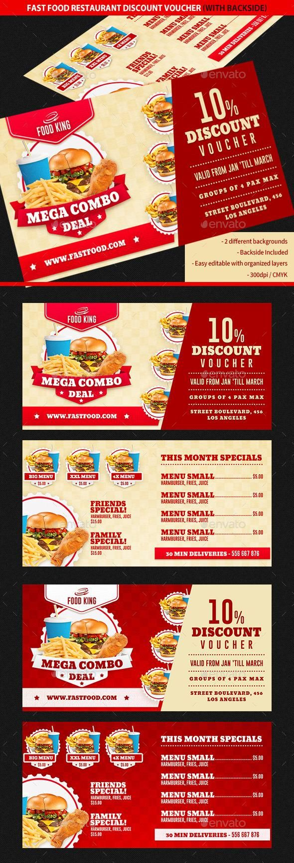 Restaurant Fast Food Discount Voucher  Discount Vouchers Card