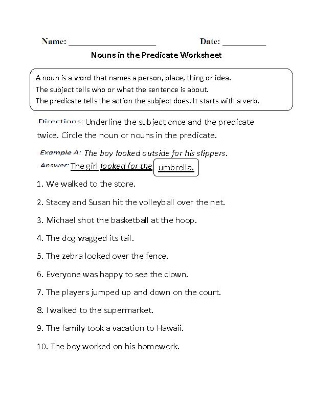 predicate nominative worksheet worksheets releaseboard