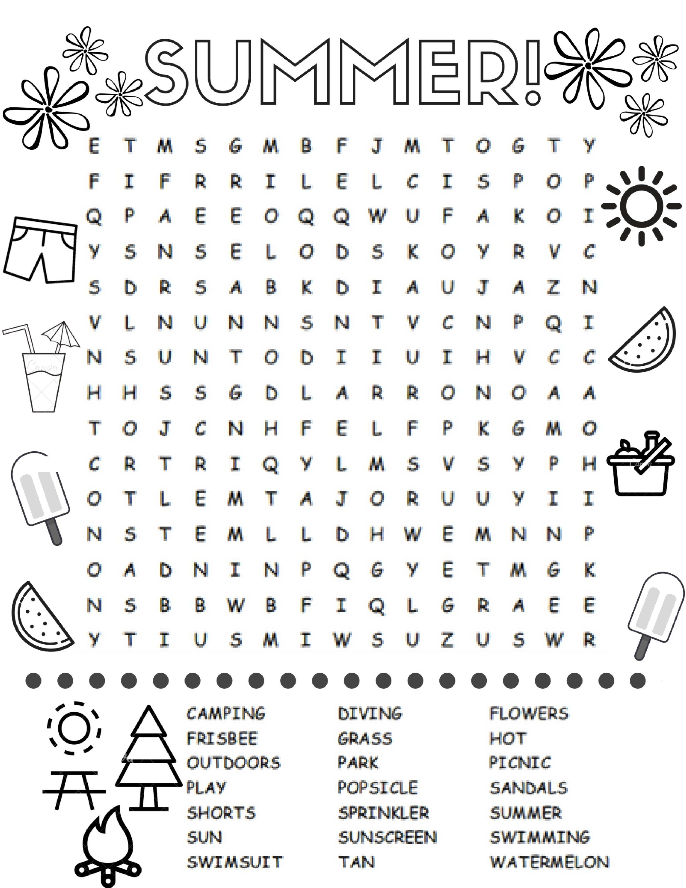 Free Printable Summer Word Search Colouring Page