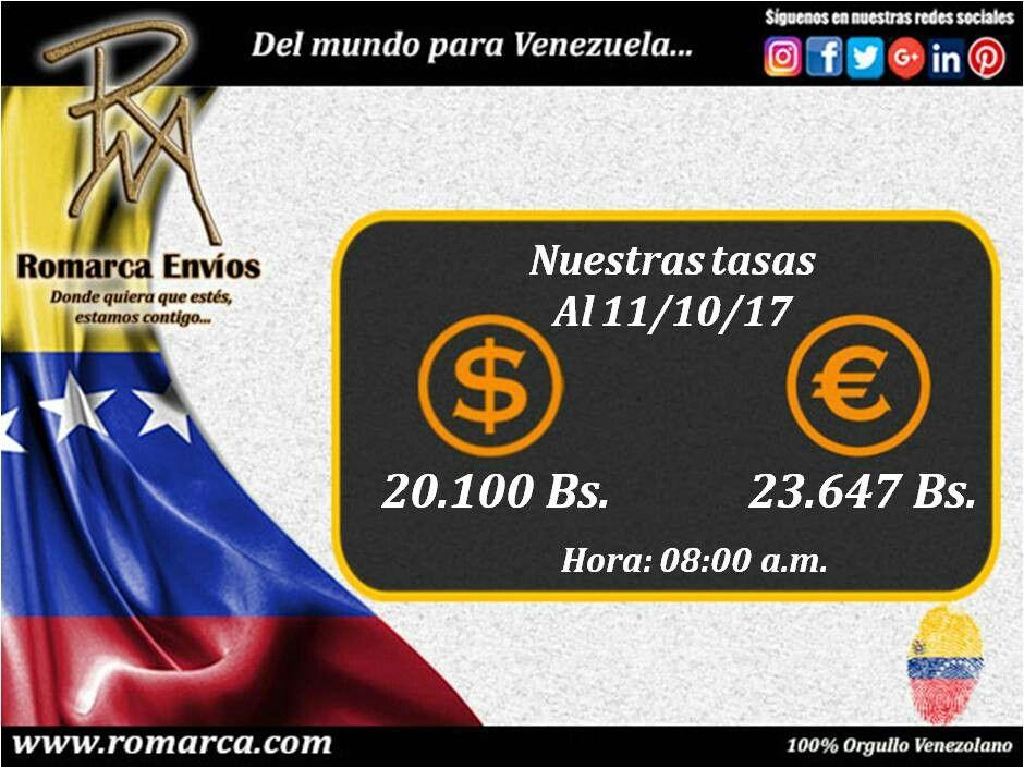 Tasas de cambio en #RomarcaEnvios 💛💙❤ #Venezuela #Remesas #Dolares #Euros #Transacciones #Venezolanos #Emigrantes #Emigrar