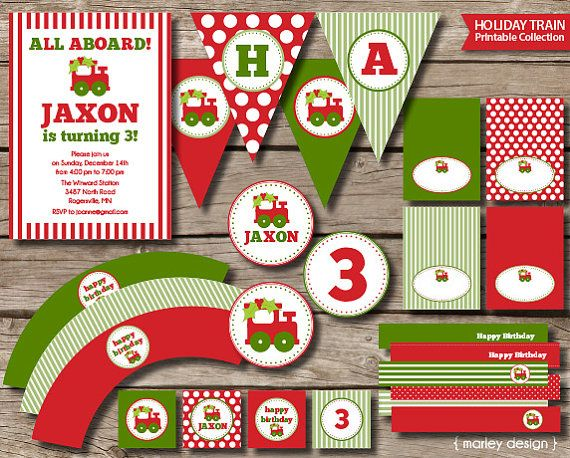 Christmas Birthday Party Ideas For Toddlers.Christmas Train Party Printables Boys Birthday By