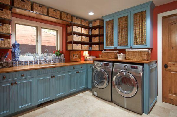 Waschküche Einrichten, Schränke In Hellblau