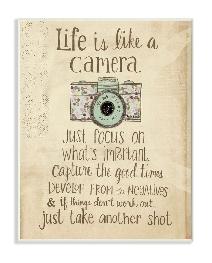 """""""Life Is like a Camera"""" Inspirational Typography Wall Plaque"""