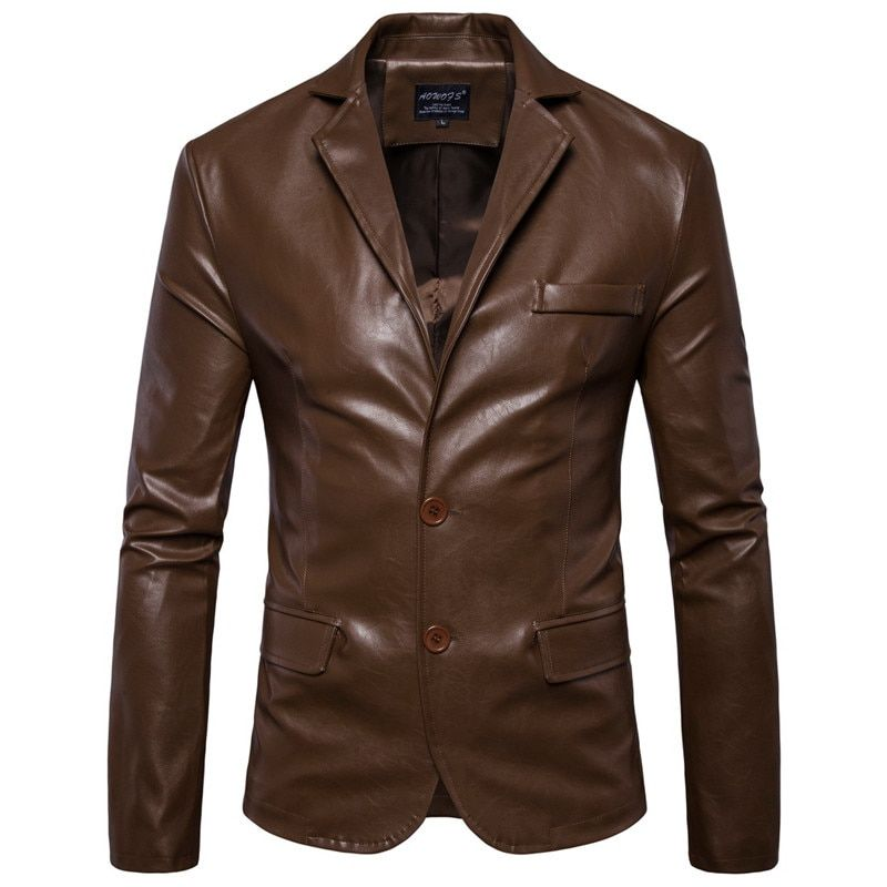 Leather Jacket Men Blazer Spring and autumn men's clothing Casual Slim Fit Blazer Leather Black Brown Suits Jacket Men Outwear #men#39;ssuits