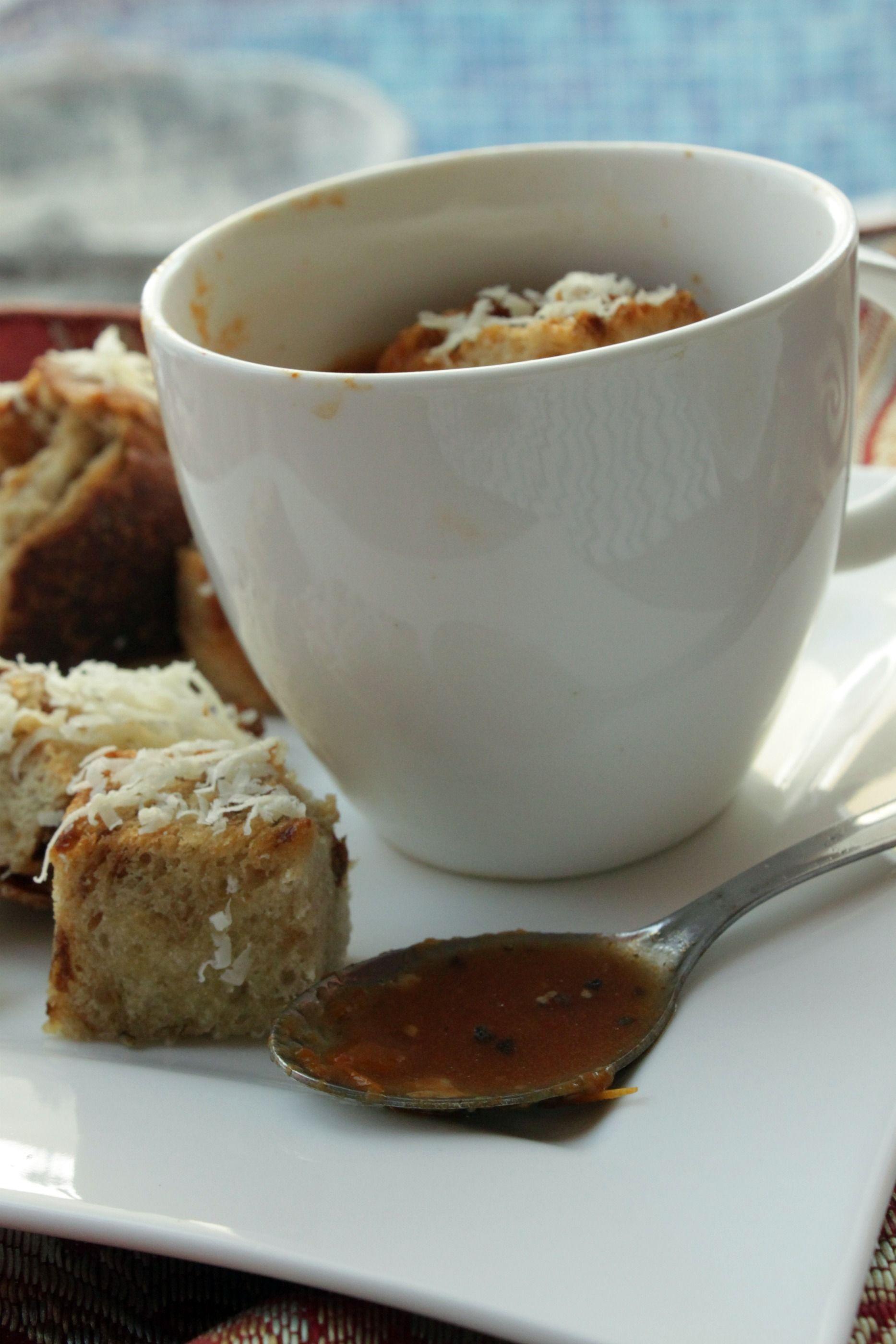 Make-Ahead Mondays: Roasted Tomato Soup w/ Caramelized Onion & Parmesan Croutons