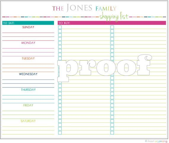 Photo of Personalized Meal Planning and Shopping List Printable