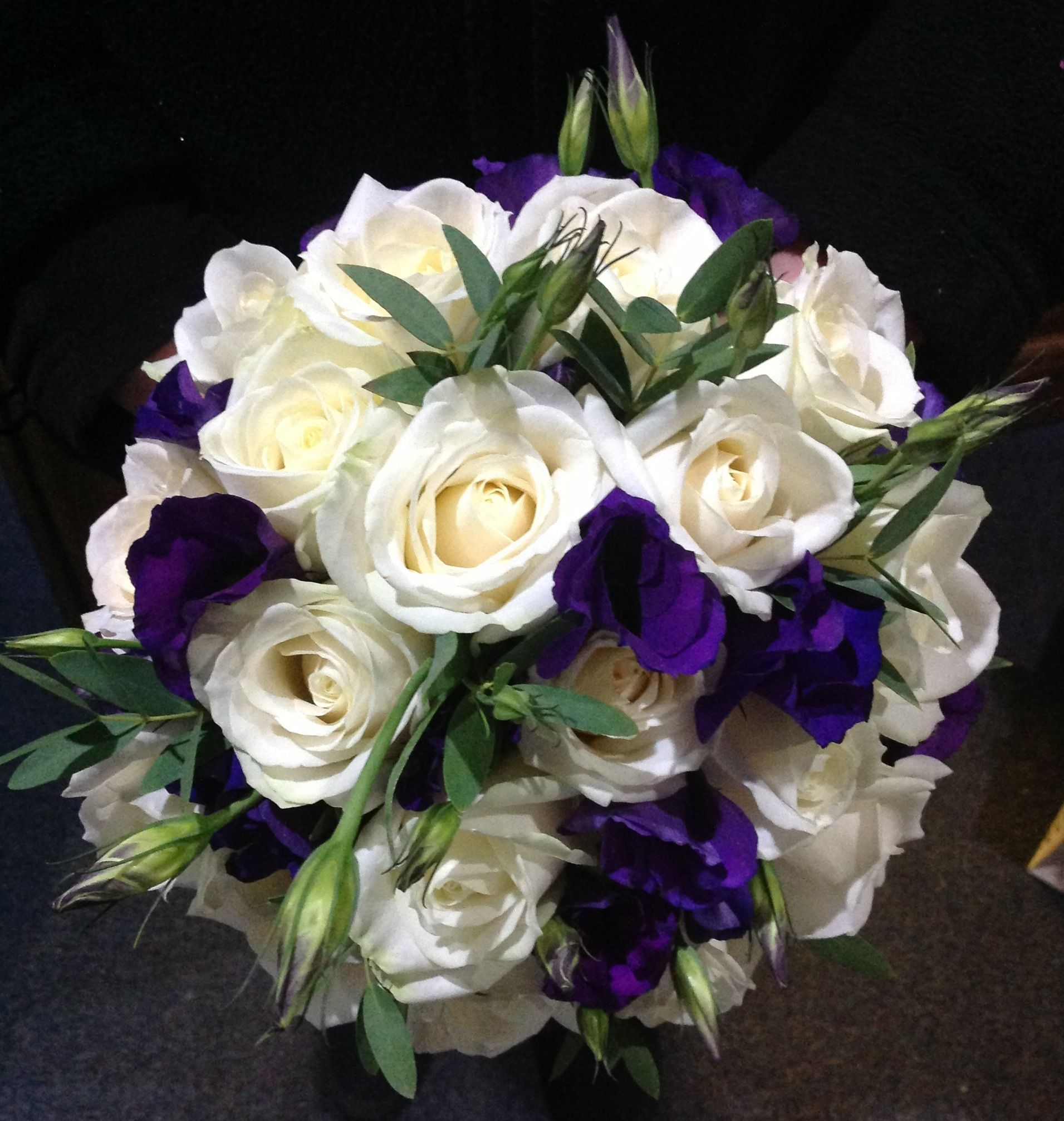 White rose  purple lisi bridal hand tied bouquet